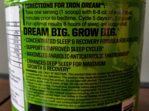 Iron Dream By MusclePharm Label 2