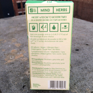 Mind Herbs Nutrition Label